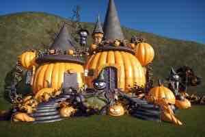 Spooky Pumpkin Scarecrow cottage для Planet Coaster