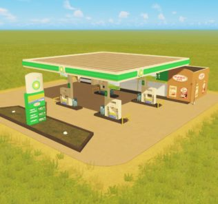 Мод BP gas station Ploppable для Cities Skylines