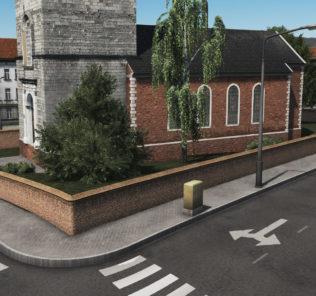 Мод Brick Wall 1 network для Cities Skylines